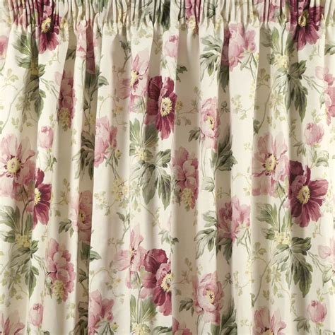 laura ashley peony curtains peony garden cranberry cotton pencil pleat ready made