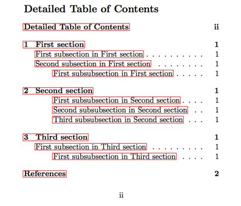 latex tutorial table of contents biblatex contents and detailed table of contents without