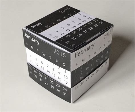 cube calendar template 2015 printable desk calendar template gift and puzzle box