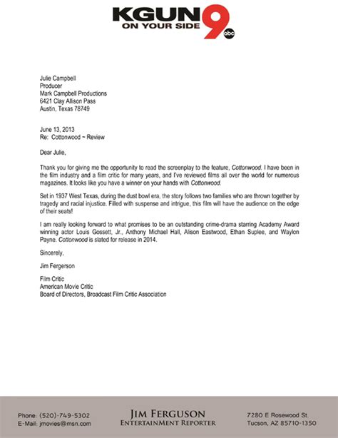 Endorsement Letter From Dean cottonwood indiegogo