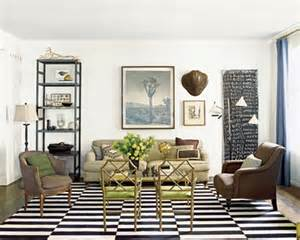 Faux Bamboo Bookcase Black And White Striped Rug Transitional Living Room