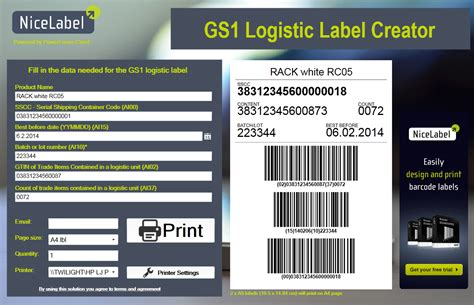 gs1 pallet labeling nicelabel