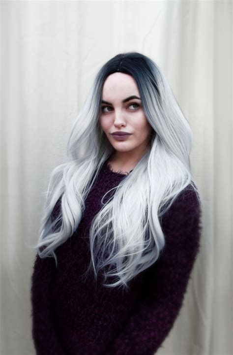 night blonde lush wigs black blonde roots ombre dip platinum lush wigs grey silver ombre black roots long