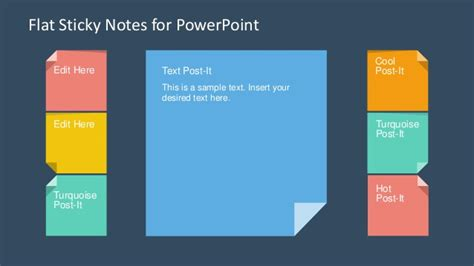 slidemodel com flat sticky notes powerpoint template