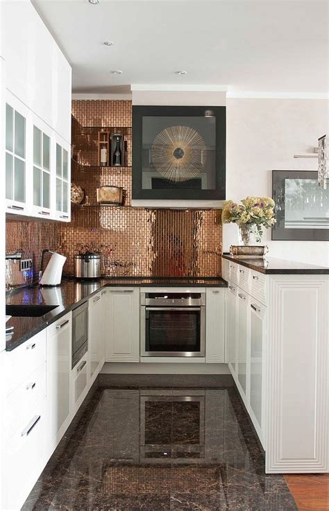 White Kitchen With Copper And Wood Accessories Color Scheme | 27 trendy and chic copper kitchen backsplashes digsdigs