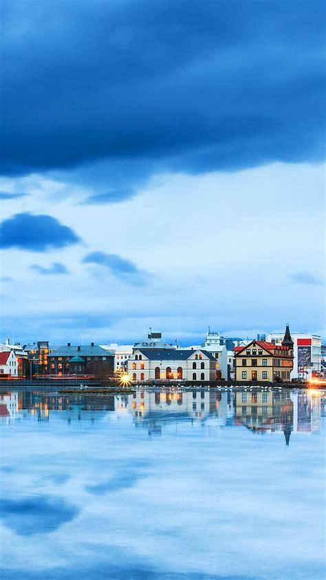 wallpaper reykjavik iceland river sky  travel