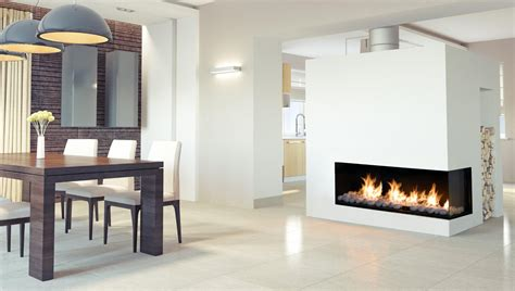 Right Corner Modern Linear Gas Fireplace   Flare Fireplaces