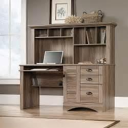 Computer Desk With Hutch Black And Oak Sauder Harbor View Computer Desk With Hutch Salt Oak