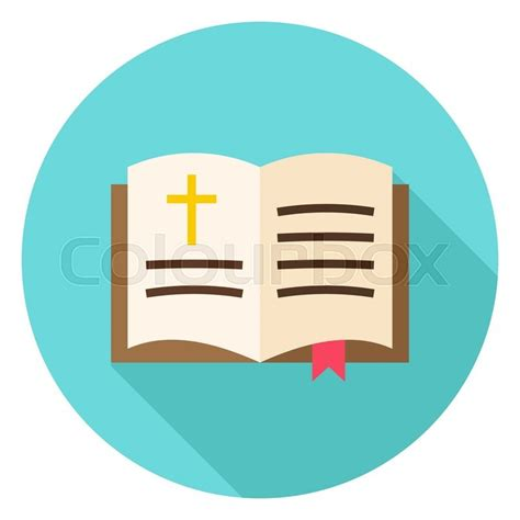 libro color design workbook a open bible book with bookmark and cross circle icon flat design vector illustration with long
