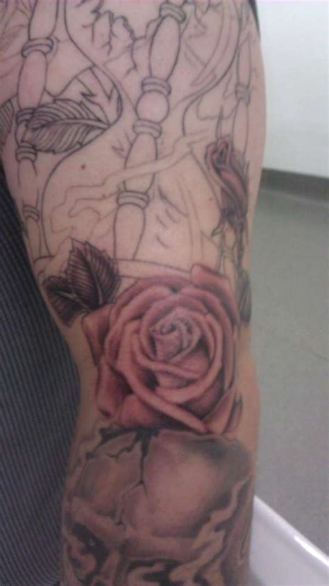 elbow rose tattoo shaded on outer
