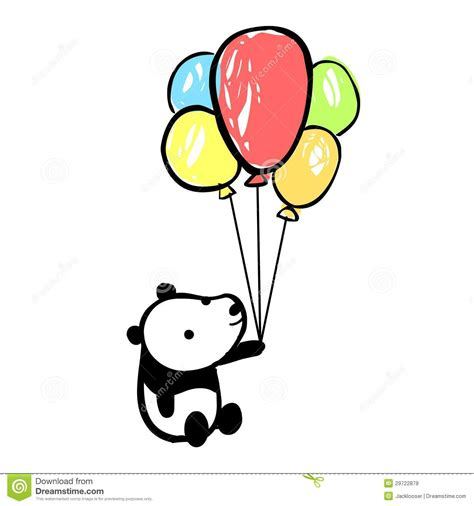 Panda with colorful balloons royalty free stock images image 29722879