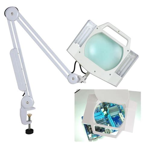 desk l with magnifying glass 5x desk table cl mount magnifier l light magnifying