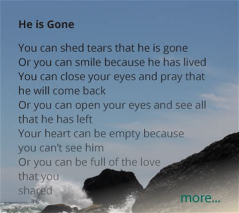Poem You Can Shed Tears That He Is by Aftering Funeral Poems