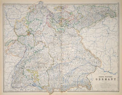 south west germany map and antique prints and maps south west germany 1861
