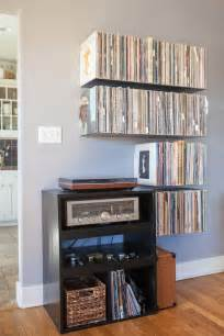 floating vinyl record shelves bk apartment