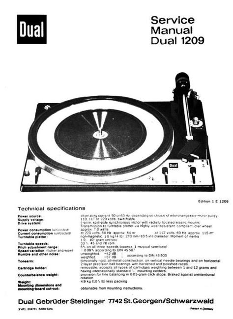 Free Dual 1019 Turntable Service Manual Download Best