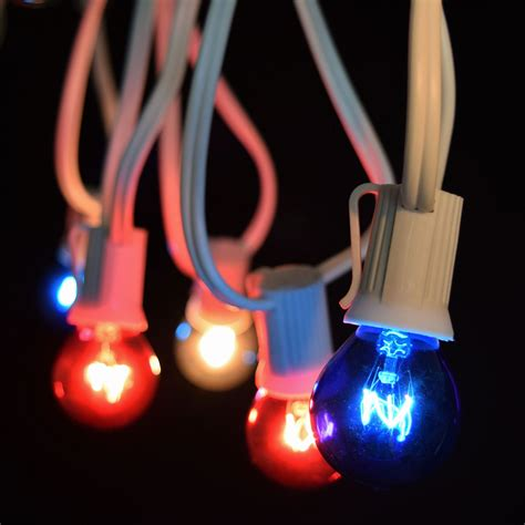 50 commercial red white blue globe light strand white
