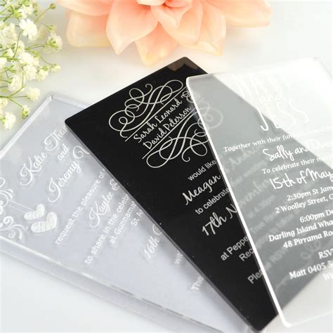 Engraved Wedding Invitations by 11b Engraved Acrylic Wedding Invitations Unique Wedding