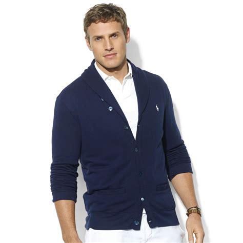 Jaket Cotton Door Polos Navy lyst ralph shawl collar fleece cardigan in blue