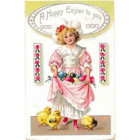 Vintage Easter Figurine Shop Collectibles - antique raphael tuck sons easter postcard gathering eggs