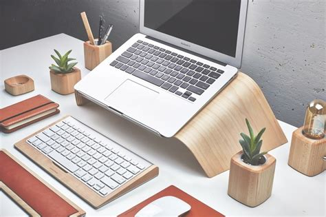 mac laptop desk stand grovemade debuts maple and walnut wood laptop stands