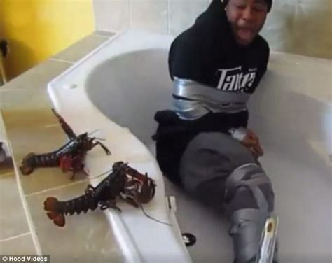 man in a bathtub man with crab phobia is left in a bathtub surrounded by