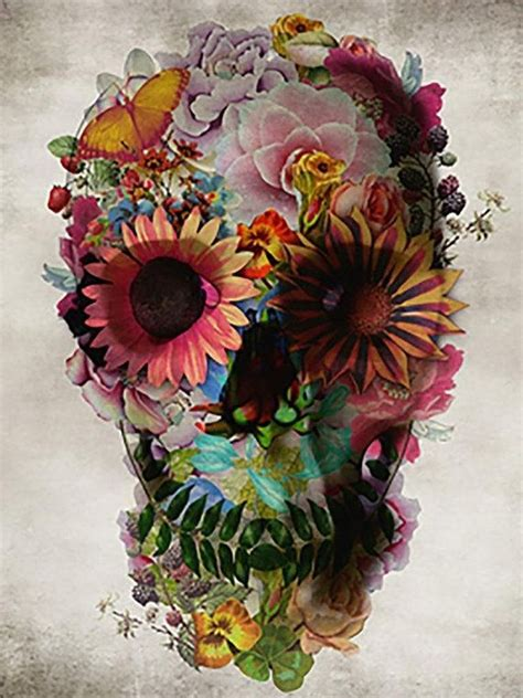 flower skull painting skull flowers abstract paintings on canvas 100