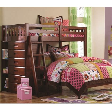 All In One Bunk Bed Solid Wood Bunk Bed In Merlot Finish