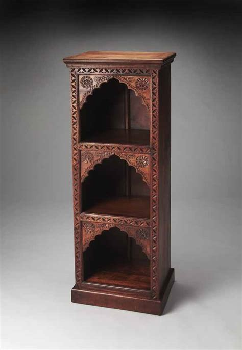carved wood bookcase crimped arches butler