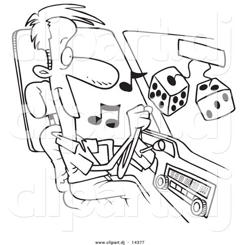 cars dj coloring pages vector of listing to tunes in his car