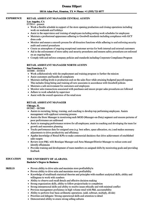 Assistant Manager Resume by Retail Assistant Manager Resume Sles Velvet