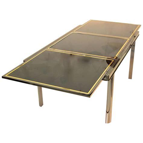 Extending Dining Table Smoked Chrome Black Glass Brass Black Glass Extending Dining Table