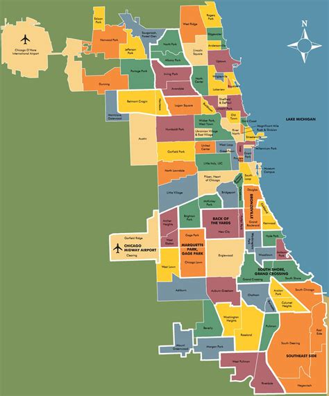 chicago map of neighborhoods chicago map with neighborhoods
