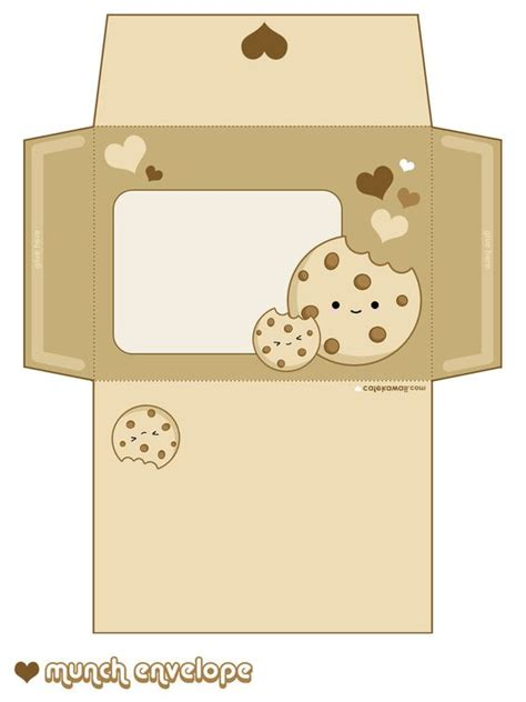 Printable Cookie Envelope | free printable kawaii cookie envelope free printables
