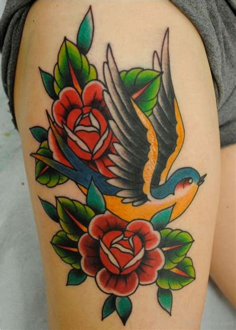 rose bird tattoo sparrow tattoos designs pictures page 5
