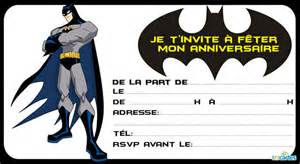 Invitation Anniversaire Je Suis Batman 123 Cartes