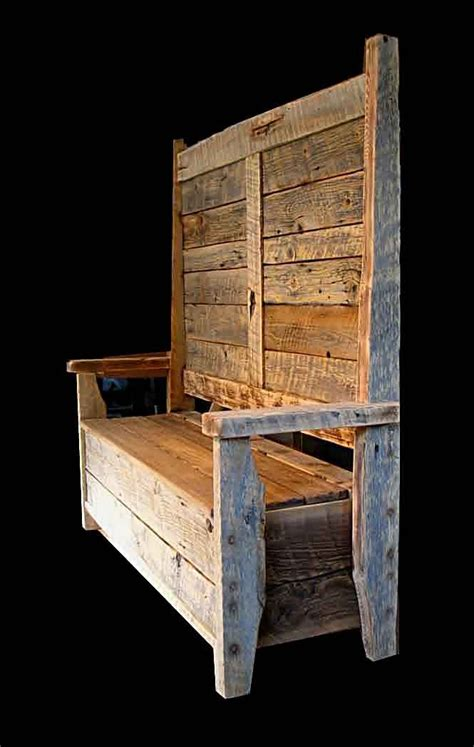 rustic barnwood benches bootbench hinged seat storage
