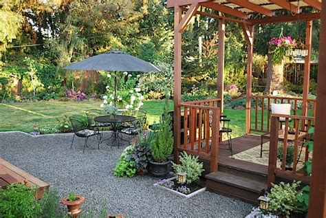 Inexpensive Small Backyard Ideas Enticing Wooden Gazebo With Wrought Iron Chairs Using Stylish Umbrella For Inexpensive Small