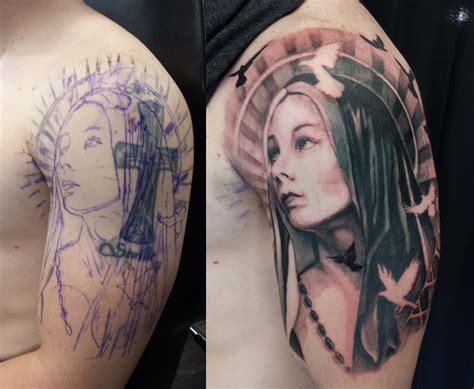 virgin mary tattoos half sleeve black and grey chronic ink