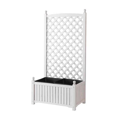 White Wood Trellis dmc 28 in x 16 in white wood planter with trellis 70511 the home depot