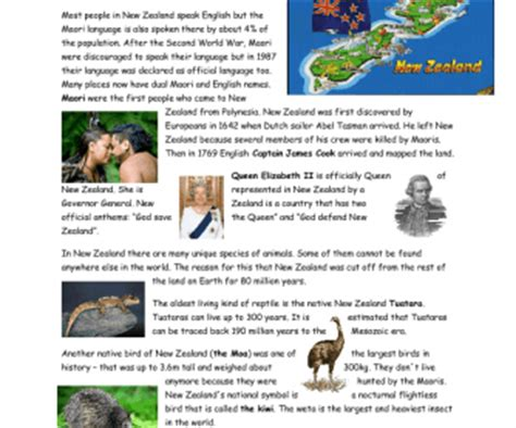 australia new zealand quiz worksheet free esl new zealand basic information