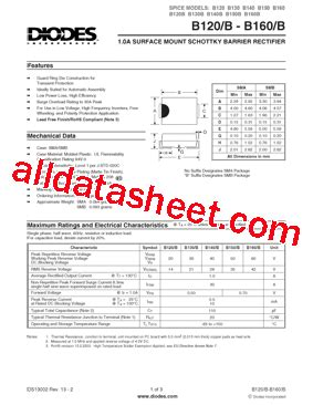 diodes inc b160 13 f b160 13 f 데이터시트 pdf diodes incorporated