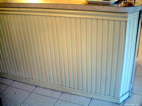 Kitchen Cabinet Islands beadboard wainscoting used for a bar and kitchen island
