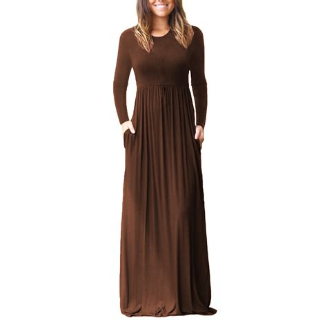 Sleeve Plain Dress womens warm sleeve plain maxi dresses