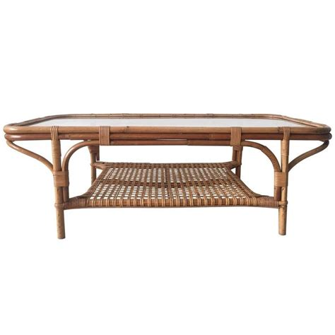 Rattan And Glass Coffee Table Rattan And Glass Rectangular Coffee Table 1960s At 1stdibs