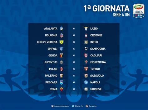 Calendario Partite Serie A Bologna Calendario Serie A 2016 2017 Date Orari Anticipi