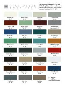 metal roof color chart color chart for galvalume metal roof tech