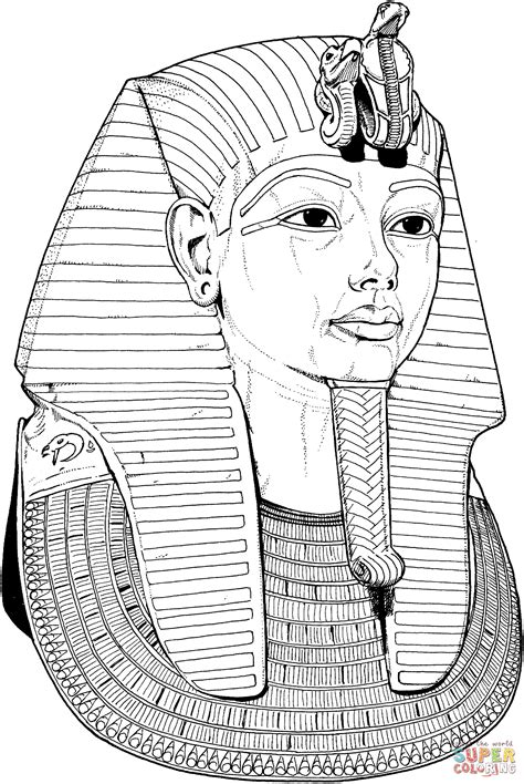 tutankhamun death mask coloring page free printable