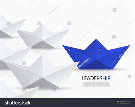 Modern Origami - vector modern concept leadership background blue stock