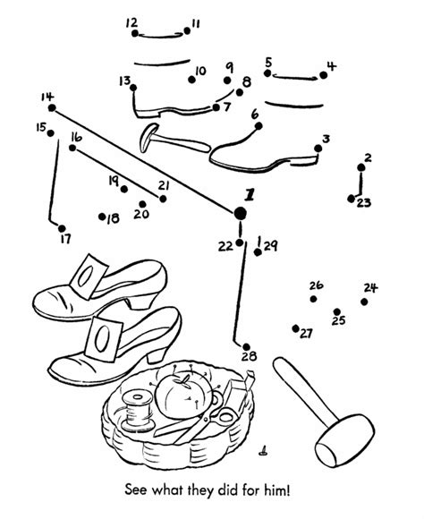 coloring page elves and the shoemaker dot to dot nursery rhyme page elves and the shoemaker